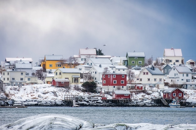 Colorful scandinavian village on coastline in winter at lofoten