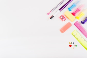 Colorful school stationery from above