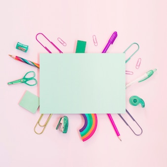 Colorful school supplies with paper