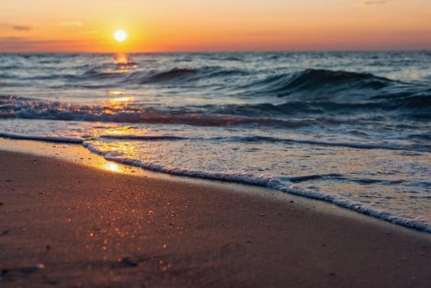 Colorful sea beach sunrise