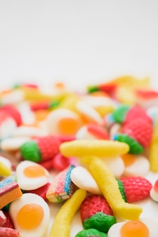 Colorful set of candies with blurred background