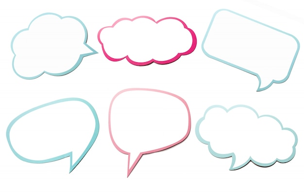 Colorful set of different speech bubble as a cloud isolated on empty white background.