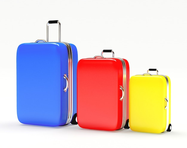 Colorful set of luggage suitcases of different sizes