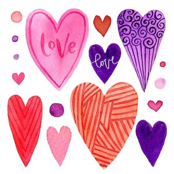 Colorful set of valentines day hearts. bright elements