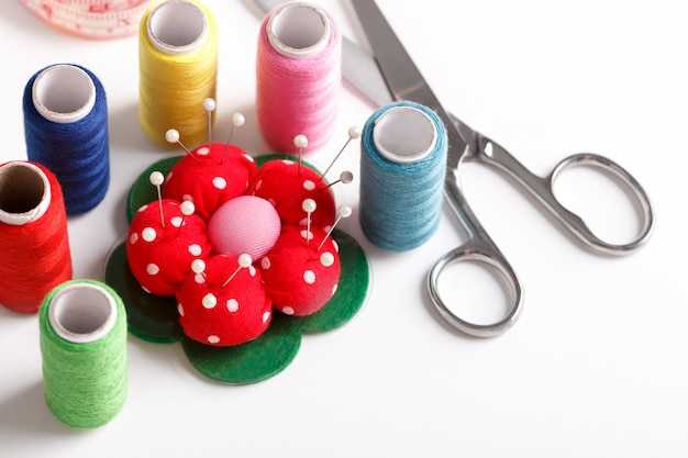 Colorful sewing items