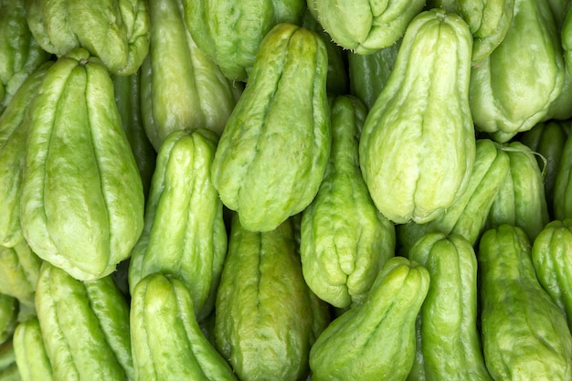 Colorful shapes of chayote fruit and vegetables useful to the body.