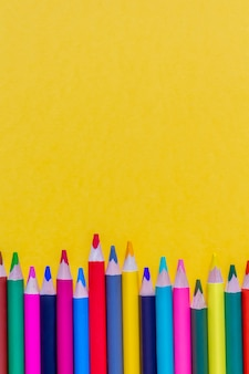 Colorful sharpened pencils background. close up. copy space.