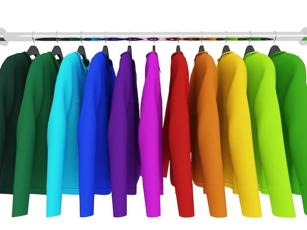 Красочные рубашки с вешалками, изолированные на белом, 3d