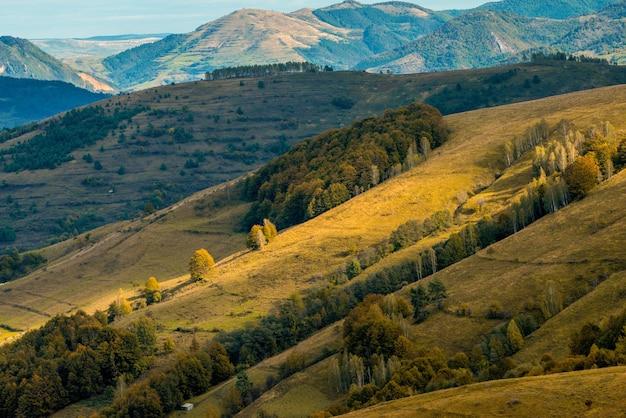 Colpo colorato della valle del ponor, alba, monti apuseni, carpazi