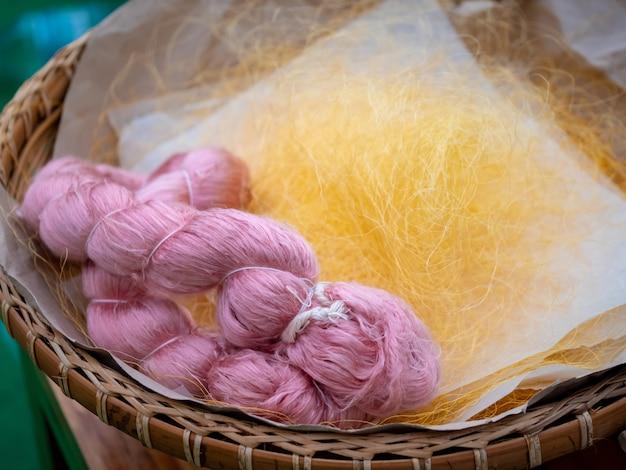 Colorful silk fiber ready to weave into silk cloth