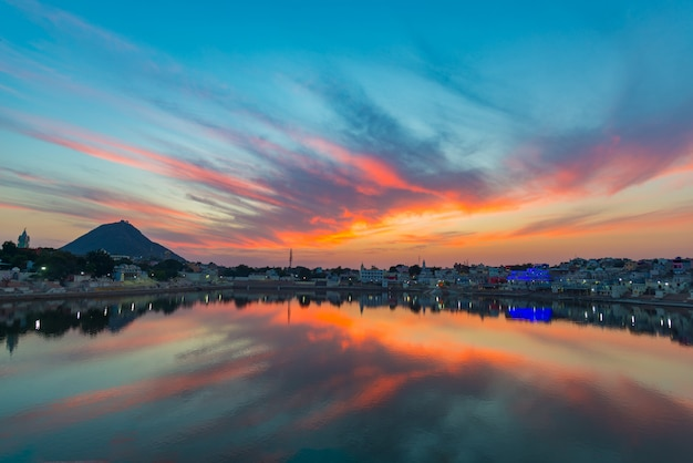 Colorful sky and clouds over pushkar, rajasthan, india.
