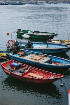 Colorful small boats at the coast