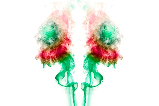 Colorful smoke on the white background.soft focus