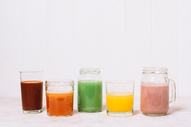 Colorful smoothies with white background