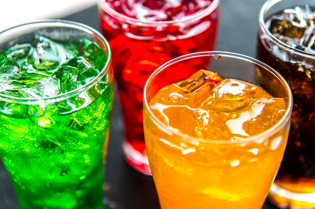 Colorful soda drinks macro shot