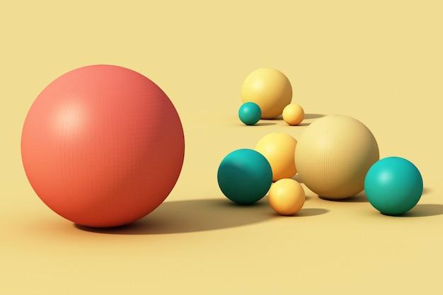 노란색 바탕에 화려한 구체 공입니다. 3d 렌더링