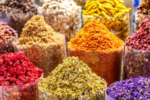 Colorful spices at the arab street market. dubai spice souk in united arab emirates.