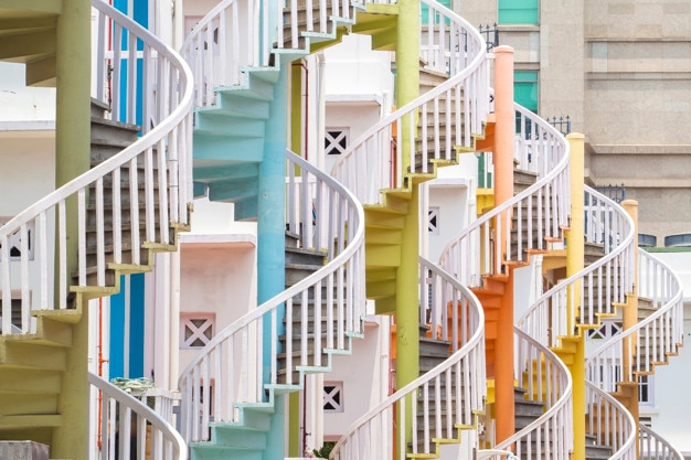 Colorful spiral stairs in bugis, singapore