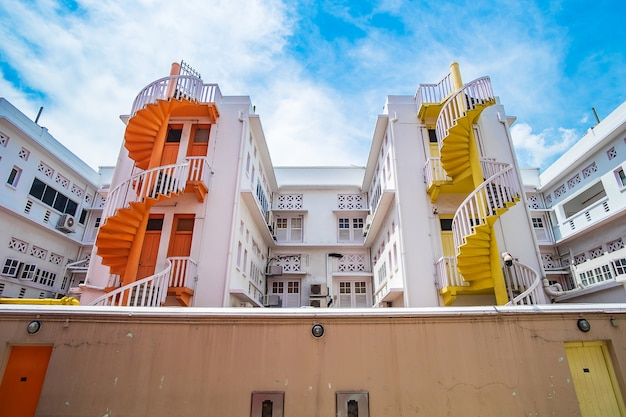 Colorful spiral stairs of singapore apartment