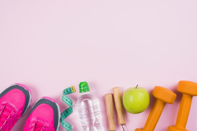 Colorful sport composition with gym elements
