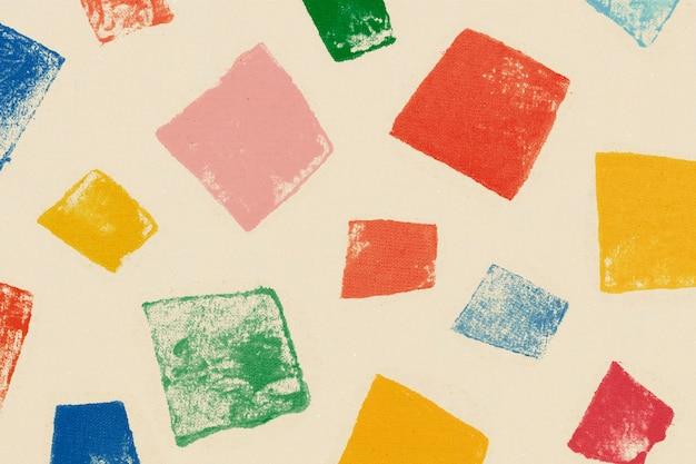 다채로운 사각형 패턴 배경 수제 인쇄