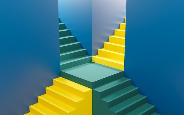화려한 계단 제품 스탠드. 3d 렌더링