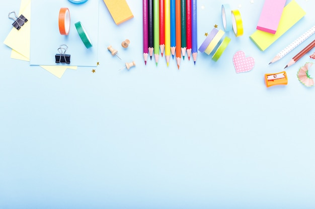 Colorful stationary school supplies