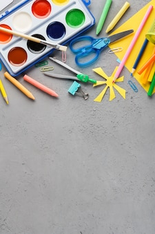 Colorful stationery supplies for school and children creation.