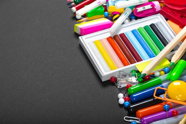 Colorful stationery with copyspace