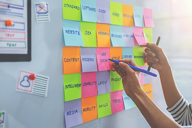 사무실 보드에 할 일이 다채로운 스티커 메모. 사용자 경험 (ux) 개념.