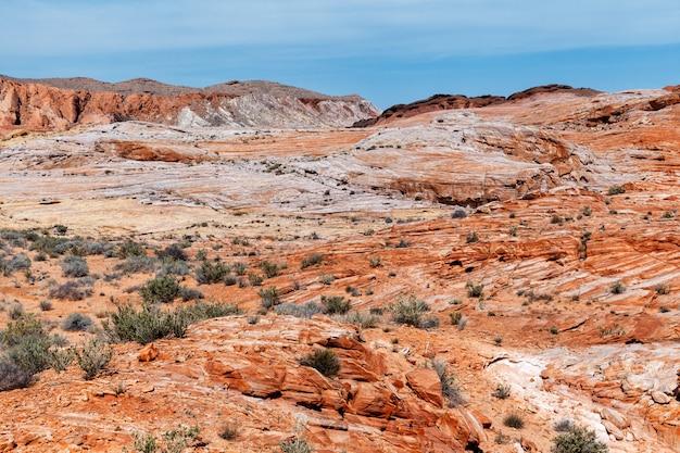 Красочная каменная пустыня, песчаник скальных образований в valley of fire state park