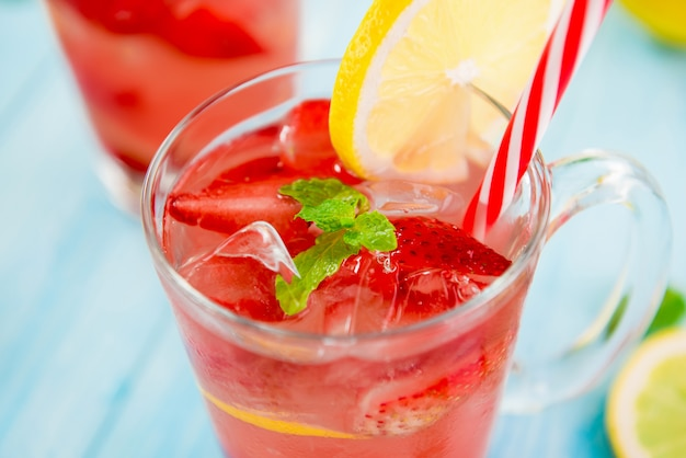 Colorful strawberry refreshing drinks for summer,