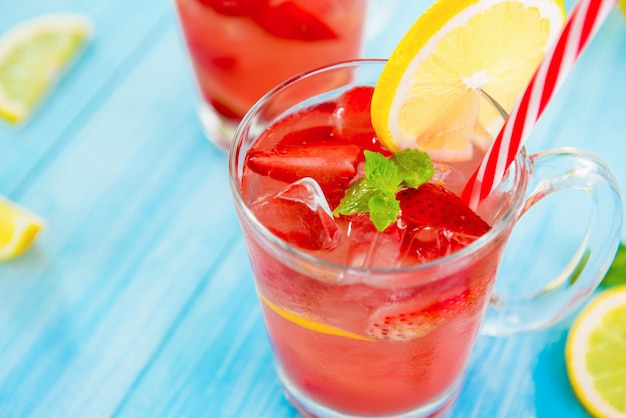 Colorful strawberry refreshing drinks for summer
