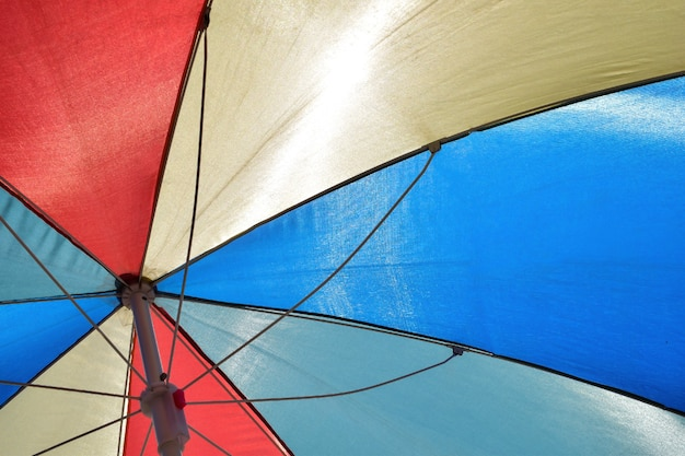 Colorful striped beach umbrella photographed from below in full frame