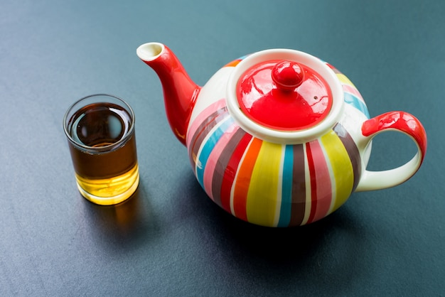 Colorful striped teapot