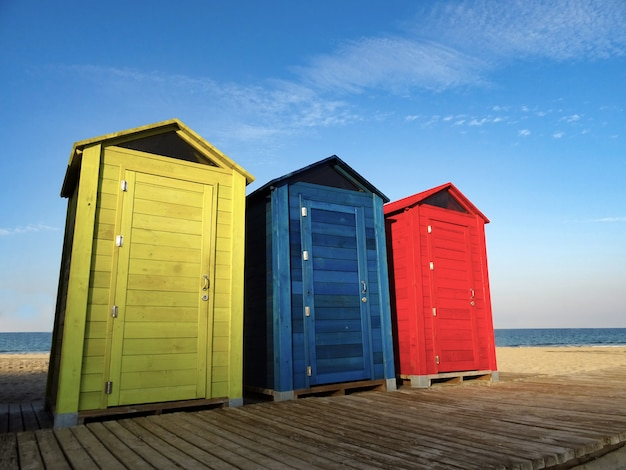 Colorful summer beach huts