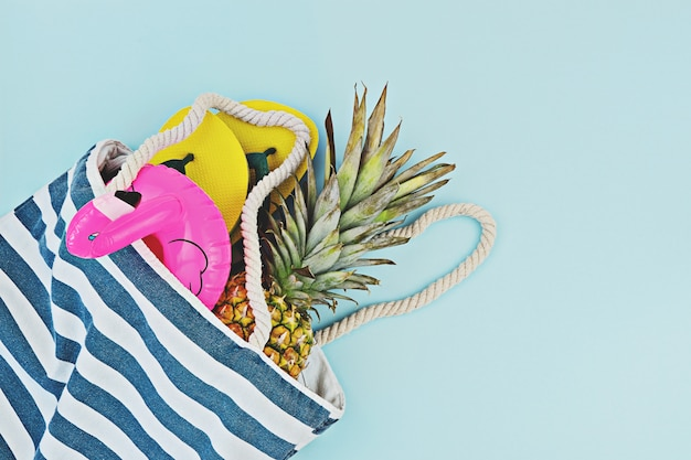 Colorful summer set for pool or beach flat lay
