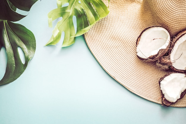 Colorful summer with coconuts and beach hat