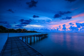 Colorful sunrise on the sea in national park of Thailand