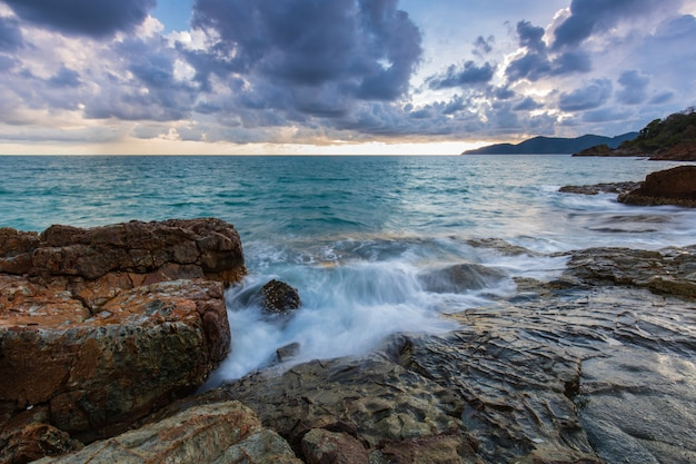 Colorful sunset on the sea in summer on koh wai island, trat  province, thailand.