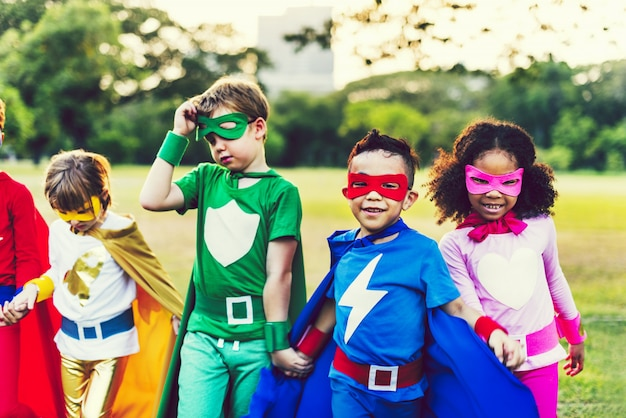 Colorful superhero kids with superpowers