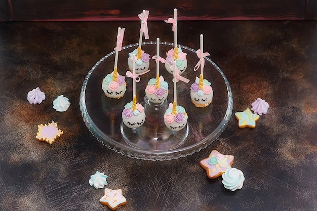 Colorful sweet cake pops
