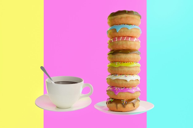 Colorful sweet donuts and white cup of coffee on background