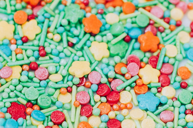 Colorful sweet food decoration abstract close up