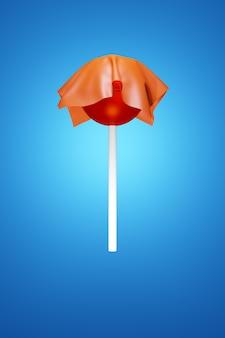 一枚の布で覆われたカラフルな甘い丸い赤いロリポップ
