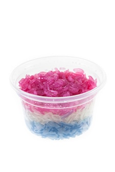 Colorful sweet sticky rice isolated on white