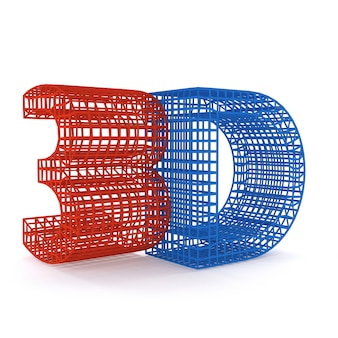 Colorful symbol 3d wireframe construction, isolated on white background. 3d illustration.