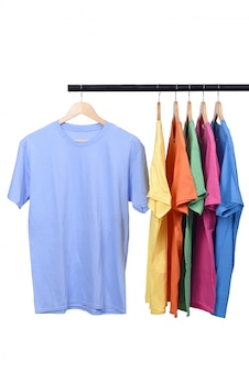 Colorful t-shirt on hanger