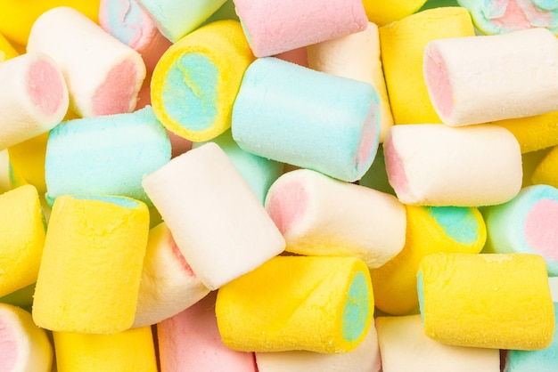 Colorful tasty marshmallow background. top view.