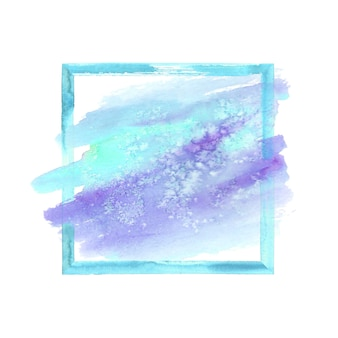 カラフルなティールターコイズブルーパープル水彩グランジフレーム